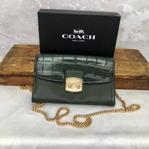 Coach Croc Embossed Leather Crossbody Clutch Ivy